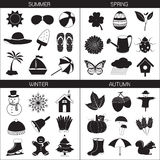 Season Icons Collection: Spring Summer Autumn Winter Royalty Free Stock Image