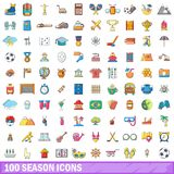 100 season icons set, cartoon style Stock Photography