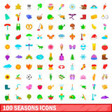 100 season icons set, cartoon style Stock Images