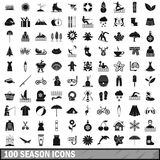 100 season icons set, simple style Stock Photography