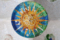 Season mosaic at sala Hipostila in Park Guell Stock Photos
