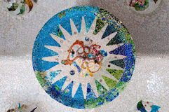 Season mosaic at sala Hipostila in Park Guell Royalty Free Stock Image