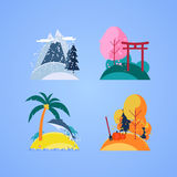 Season. The nature of each season of the year in the form of a small island. Snow-covered mountains and trees. Cherry blossoms. The sea, palm trees and the beach Stock Photos