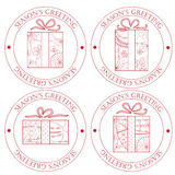 Season's greeting stamps with gifts Royalty Free Stock Images