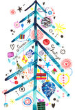Season's Greeting Tree Card. Design for the winter holidays featuring a decorative, simple Christmas tree with decorations. Created with collage, ink and pencils Royalty Free Stock Photos