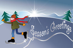 Season's Greetings. Holiday illustration with a kid skating and the message 'Season's Greetings Stock Photo