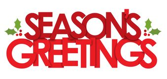 Free SEASON`S GREETINGS Banner With Holly Motifs Stock Photos - 133564143