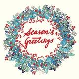 Season's Greetings calligraphy. Christmas floral frame. Christmas card. Stock Images