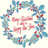 Season's Greetings card with calligraphy. Christmas floral frame. Christmas card. Stock Photo
