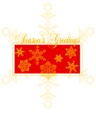 Season's Greetings Card Design. Gold lacy snowflakes over a rich red rectangle with a gold outer border. Great for holiday cards, postcards, note cards, gift vector illustration