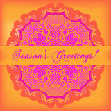 Season's Greetings card. Pink text on bright background with doi. Ly ornament. Vector illustration Stock Images