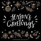 Season's greetings. Christmas greeting card with calligraphy. Royalty Free Stock Images