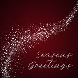 Season`s Greetings greeting card. Amazing falling stars background. Amazing falling stars on red background.lovely vector illustration Royalty Free Stock Photo
