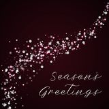 Season`s Greetings greeting card. Beautiful falling snow background. Beautiful falling snow on wine red background.lovely vector illustration Royalty Free Stock Photo