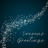 Season`s Greetings greeting card. Random falling white dots background. Random falling white dots on blue background.lovely vector illustration Stock Photography