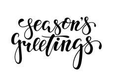 Season`s Greetings. Hand drawn creative calligraphy, brush pen lettering.. Season`s Greetings. Hand drawn creative calligraphy, brush pen lettering. design Royalty Free Stock Images