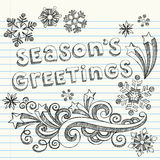 Season's Greetings Hand-Drawn Sketchy Doodles. Hand-Drawn  Winter Holiday Season's Greetings Sketchy Notebook Doodles with snowflakes, stars, and swirls. Vector Stock Photography