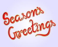 Season`s Greetings Hand Lettered Vector Text Stock Photo