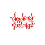 Season`s greetings -  red hand lettering inscription to christma. S and 2018 new year celebration holiday design text isolated on white, calligraphy vector Stock Photo