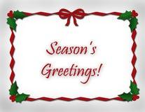 Season's Greetings and Ribbon Stock Photo