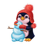 Season's Greetings with Smiling Little Penguin Making Snowman - Merry Christmas and Happy New Year with Hand-Drawn Character vector illustration