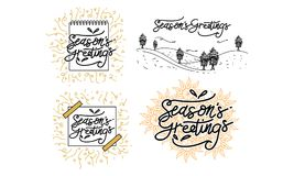 Season`s Greetings Template Set. Vector Stock Images