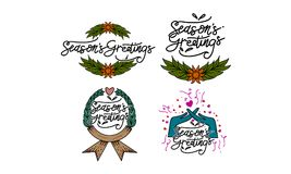 Season`s Greetings Template Set. Vector Stock Photography