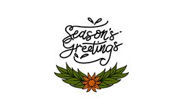 Season`s Greetings Template Vector. Isolated Stock Photos