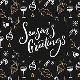 Season`s greetings text on Christmas decorations pattern. Dark design with white and gold doodles. Season`s greetings text on Christmas decorations pattern royalty free illustration