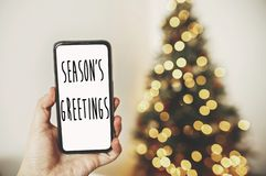 Season`s greetings text on phone screen on background of golden. Beautiful christmas tree with lights in festive room. Happy Holidays card. Merry Christmas and royalty free stock image