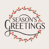 Season's Greetings typography for Christmas/New Year greeting card Stock Photography