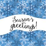 Season`s greetings. Vector illustration of white and dark blue snowflakes on blue background. Season`s greetings. Hand drawn white and dark blue snowflakes on Stock Image