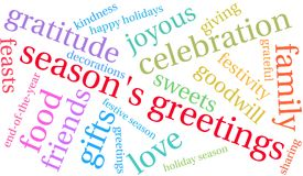Season`s Greetings Word Cloud. On a white background Royalty Free Stock Image