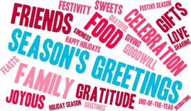 Season`s Greetings Word Cloud. On a white background Royalty Free Stock Photo