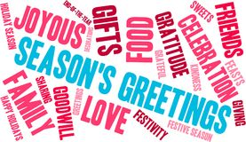 Season`s Greetings Word Cloud. On a white background Stock Photos