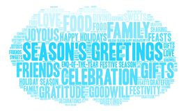 Season`s Greetings Word Cloud. On a white background Stock Image