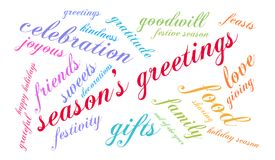 Season`s Greetings Word Cloud. On a white background Stock Photography