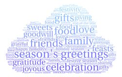 Season`s Greetings Word Cloud. On a white background Royalty Free Stock Images