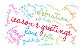 Season`s Greetings Word Cloud Royalty Free Stock Photography