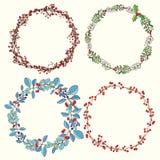 Season's Greetings wreath set. Christmas floral frame. Christmas card set Royalty Free Stock Photos