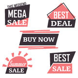 Season sale badges and tags design  set for banners, promotional brochures, discount posters, shopping Flyer, clearance Adve. Season sale badges and tags bright Stock Photos