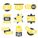 Season sale badges and tags design  set for banners, promotional brochures, discount posters, shopping Flyer, clearance Adve. Season sale badges and tags bright Royalty Free Stock Photos