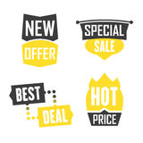 Season sale badges and tags design  set for banners, promotional brochures, discount posters, shopping Flyer, clearance Adve. Season sale badges and tags bright Royalty Free Stock Image