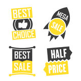 Season sale badges and tags design  set for banners, promotional brochures, discount posters, shopping Flyer, clearance Adve. Season sale badges and tags bright Stock Photography