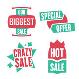 Season sale badges and tags design  set for banners, promotional brochures, discount posters, shopping Flyer, clearance Adve. Season sale badges and tags bright Royalty Free Stock Photography