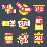 Season sale badges and tags design  set for banners, promotional brochures, discount posters, shopping Flyer, clearance Adve. Season sale badges and tags bright Stock Image