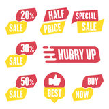 Season sale badges and tags design  set for banners, promotional brochures, discount posters, shopping Flyer, clearance Adve. Season sale badges and tags bright Royalty Free Stock Images