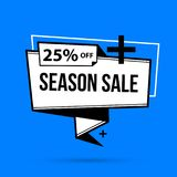 Season sale banner template in black and white style. On bright blue background Royalty Free Stock Photos