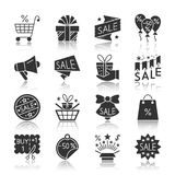 Season sale black silhouette reflection icon set. Season sale black silhouette with reflection icon set. Clearance monochrome flat design symbol collection Stock Photography