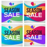 Season sale, bright and shine gift cards, flyers and stickers fo. R youre store Stock Photography